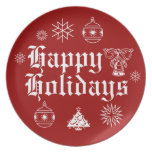 HAPPY HOLIDAYS ORNAMENT TREE BELL SNOWFLAKE Plate