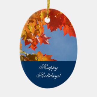 Happy Holidays! ornaments Autumn Leaves Peace Love