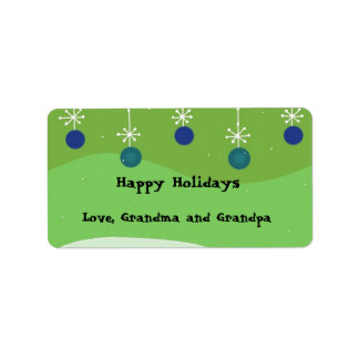 Happy Holidays Ornaments Label