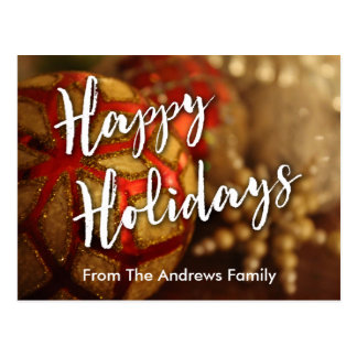Happy Holidays Ornaments Photo & Typography Postcard