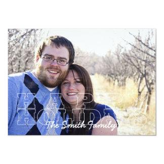 Happy Holidays Outline Custom Photo Card