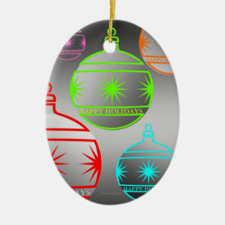 Happy Holidays Oval Ornament