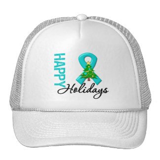 Happy Holidays Ovarian Cancer Awareness Trucker Hat