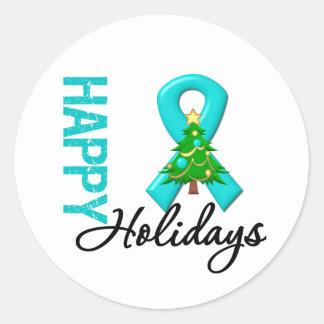 Happy Holidays Ovarian Cancer Awareness Round Sticker