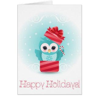 Happy Holidays owl Card
