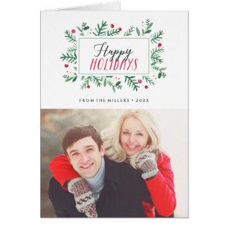 Happy Holidays Painted Botanicals Card