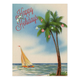 Happy Holidays Palm Tree and Sailboat Postcard