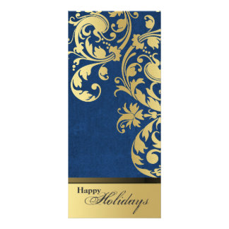 Happy Holidays Party Invitation - Blue & Gold Personalized Rack Card