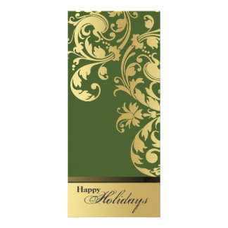 Happy Holidays Party Invitation - Green & Gold Rack Card Template