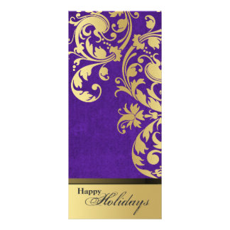 Happy Holidays Party Invitation - Purple & Gold Rack Card Design