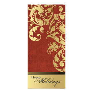 Happy Holidays Party Invitation - Red & Gold Personalized Rack Card