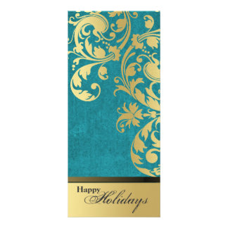 Happy Holidays Party Invitation - Teal & Gold Custom Rack Card
