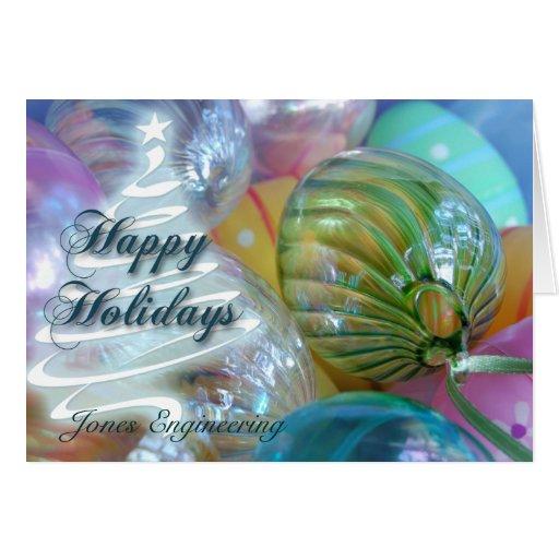 Happy Holidays Pastel Ornaments Card