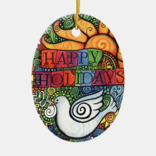 Happy Holidays Peace Dove Sun Design Double-Sided Oval Ceramic Christmas Ornament