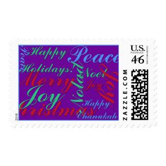 Happy Holidays, Peace, Joy, Noel, Happy Chanukah, Stamp