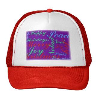 Happy Holidays Peace Joy Noel Merry Christmas Trucker Hat