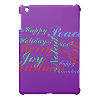 Happy Holidays Peace Joy Noel Merry Christmas iPad Mini Cover