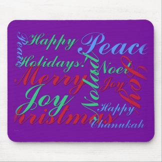 Happy Holidays Peace Joy Noel Merry Christmas Mousepad