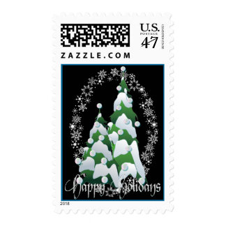 HAPPY HOLIDAYS PEARL TREES by SHARON SHARPE Postage