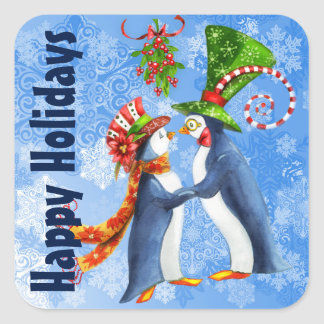 Happy Holidays Penguin Couple Under the Mistletoe Square Sticker