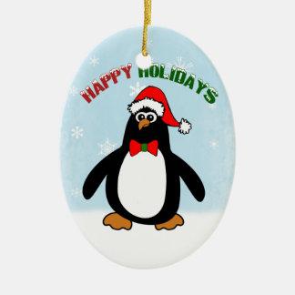 Happy Holidays Penguin (double sided) Ceramic Ornament