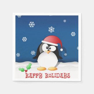 Happy Holidays Penguin Napkin