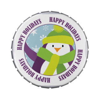 Happy Holidays Penguin with Snowflakes Candy Tin