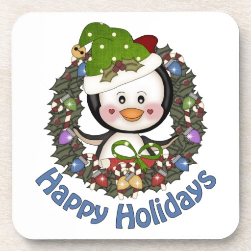 Happy Holidays Penguin Wreath 2 Drink Coaster