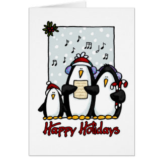 happy holidays penguins card