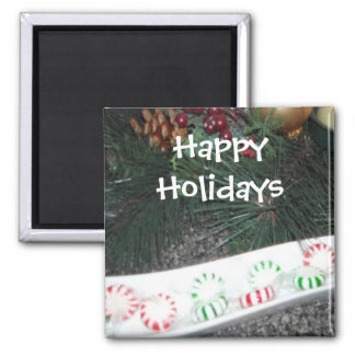 Happy Holidays Peppermints 2 Inch Square Magnet