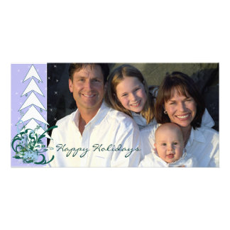 Happy Holidays Periwinkle Blue Family Photo Card