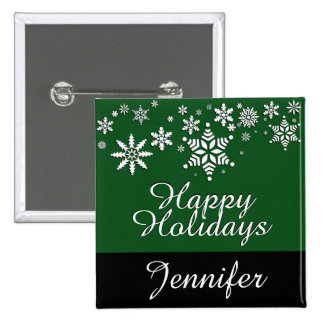 Happy Holidays Personalize Holiday 2 Inch Square Button