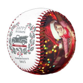 Happy Holidays Personalized Family Photo Baseball