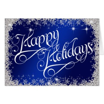 Happy Holidays PERSONALIZED Stunning Royal Blue Card