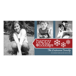 Happy Holidays Photo - 3 photos Red White Blue Card