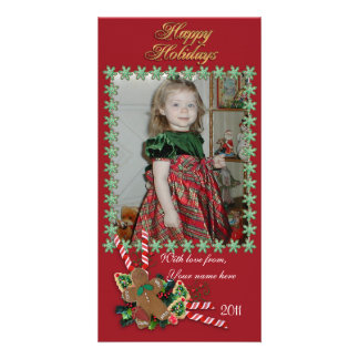 Happy Holidays photo card cookie frame