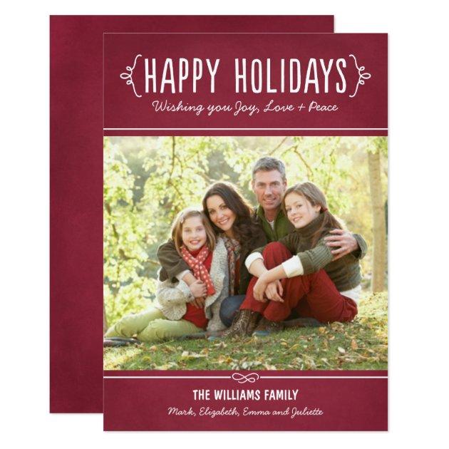 Happy Holidays Photo Card | Joy Love Peace Wishes | Zazzle