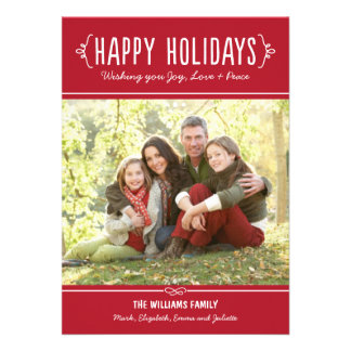 Happy Holidays Photo Card Joy Love Peace Wishes Custom Invites