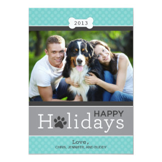 "Happy Holidays Photo Card | Puppy Dog Theme 5"" X 7"" Invitation Card"