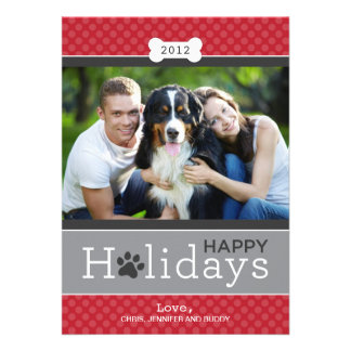 Happy Holidays Photo Card Puppy Dog Theme Personalized Announcement