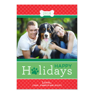 Happy Holidays Photo Card | Puppy Dog Theme Custom Announcement