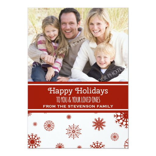 Happy Holidays Photo Card Red White Snowflakes