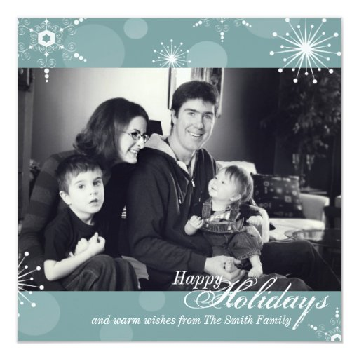 Happy Holidays Photo Card -Teal White Snowflakes Announcements