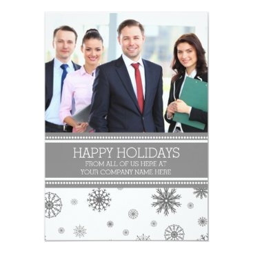 Professional Business Happy Holidays Photo Cards Grey Business