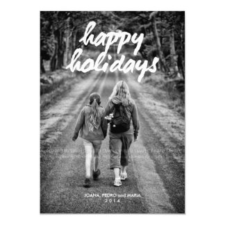 Happy Holidays Photo Christmas Holiday Red White Card