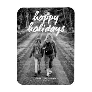 Happy Holidays Photo Christmas Holiday White Bold Vinyl Magnets
