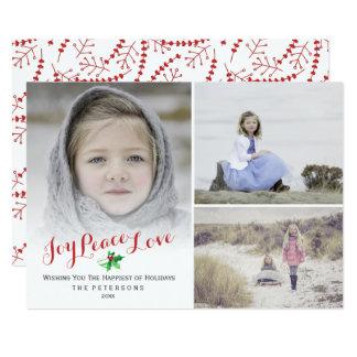 Happy Holidays Photo Collage Holly Joy Peace Love Card