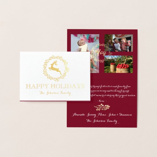 Happy Holidays Photo Family Collage Burgundy Gold Foil Card