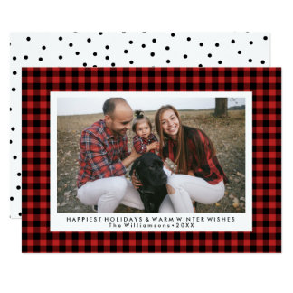 Happy Holidays Photo Fun Buffalo Check Plaid Card