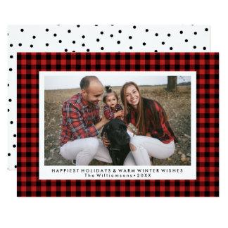 Happy Holidays Photo Fun Buffalo Check Plaid Card